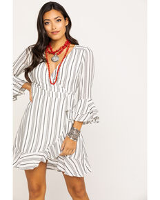 Miss Me Women's Grey Stripe Surplice Wrap Dress, Grey, hi-res