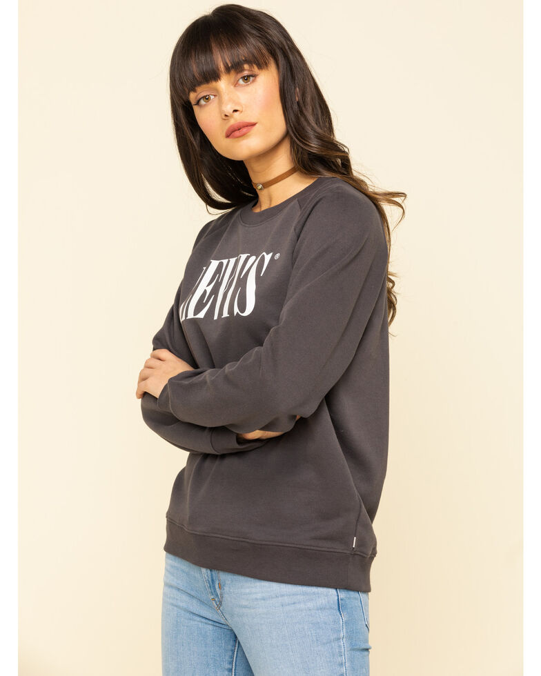 Levi's Women's Dark Grey Logo Crew Pullover, Dark Grey, hi-res