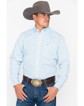 Panhandle Men's Comal Vintage Long Sleeve Western Shirt, White, hi-res