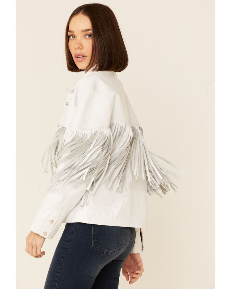 Understated Leather Women's Howling Moon Fringe Snap-Front Leather Jacket , White, hi-res