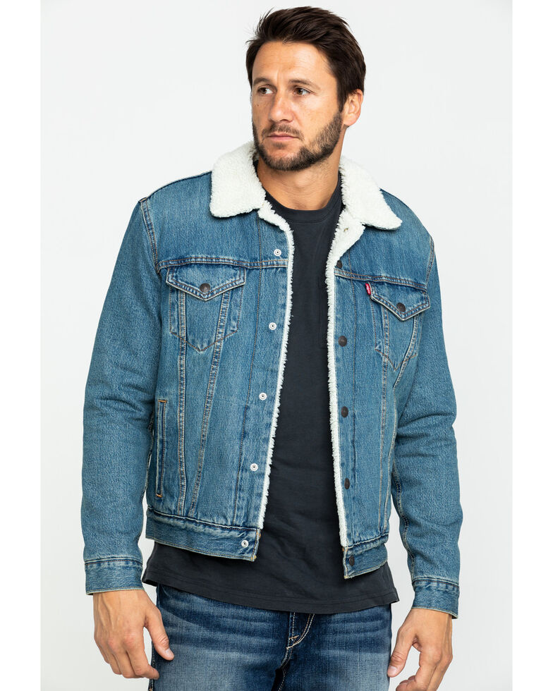 Levi's Men's Juniper Sherpa Lined Trucker Denim Jacket , Blue, hi-res