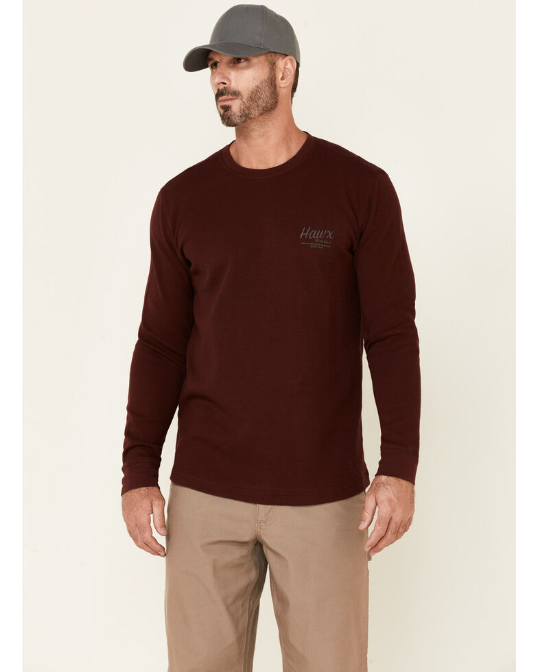 Hawx Men's Dark Red Thermal Waffle Graphic Crew Long Sleeve Work Shirt , Dark Red, hi-res