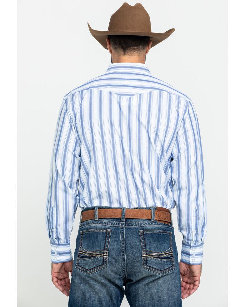 Panhandle Men's White Dobby Stripe Long Sleeve Western Shirt , White, hi-res