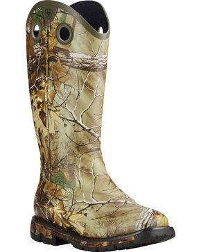 Ariat Men's Conquest Waterproof Camo Rubber Buckaroo Boots, Camouflage, hi-res