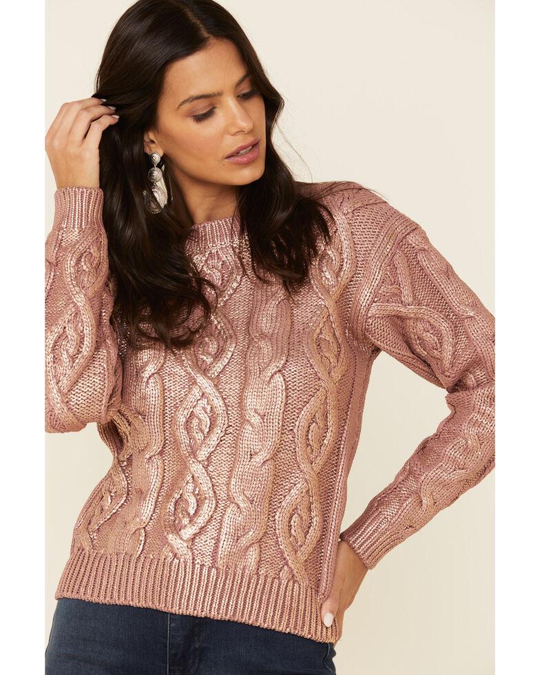 Rock & Roll Denim Women's Mauve Metallic Cable Knit Sweater , Mauve, hi-res
