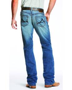 Ariat Men's Blue M5 Slim Fit Low Rise TekStretch Bootcut Jeans, Blue, hi-res