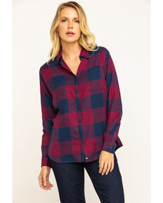 Dickies Women's Plaid Long Sleeve Flannel Shirt, Red, hi-res