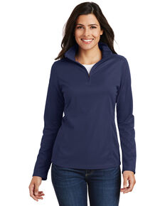 Port Authority Women's Navy 3X Pinpoint Mesh 1/2 Mesh Pullover - Plus, Navy, hi-res