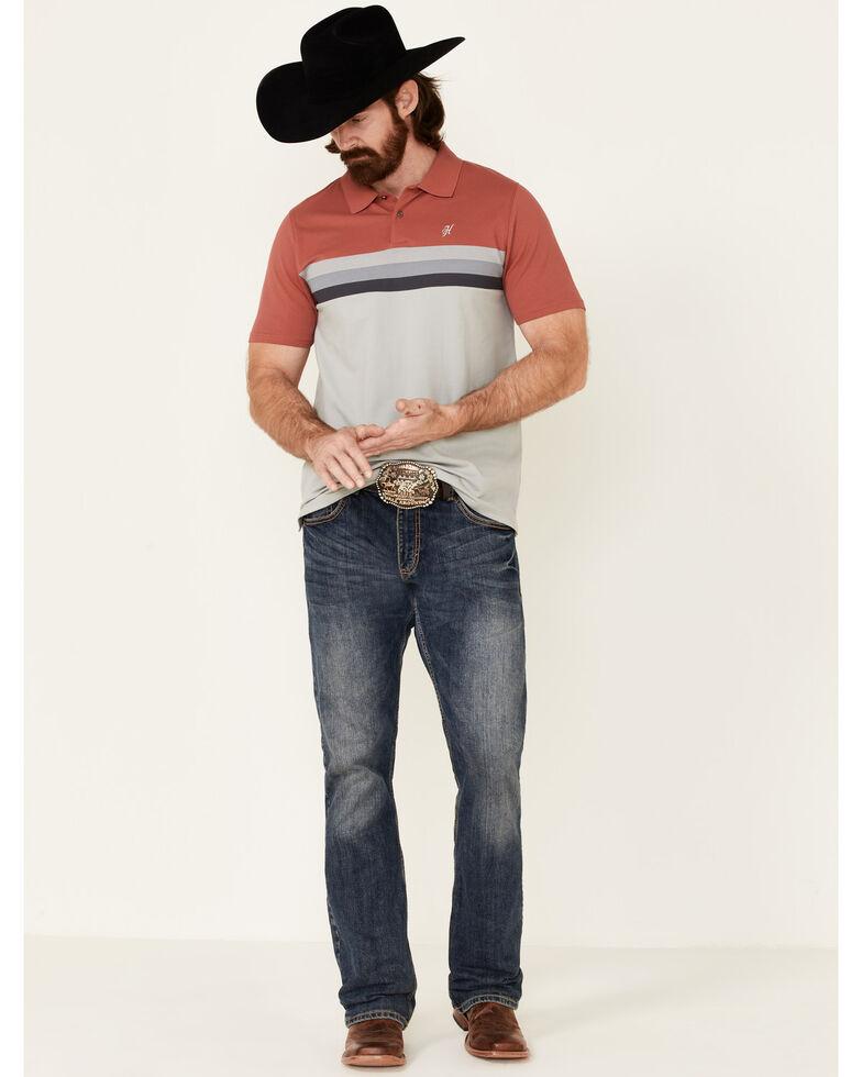 HOOey Men's Pink Chest Stripe Maverick Short Sleeve Polo Shirt  , Pink, hi-res