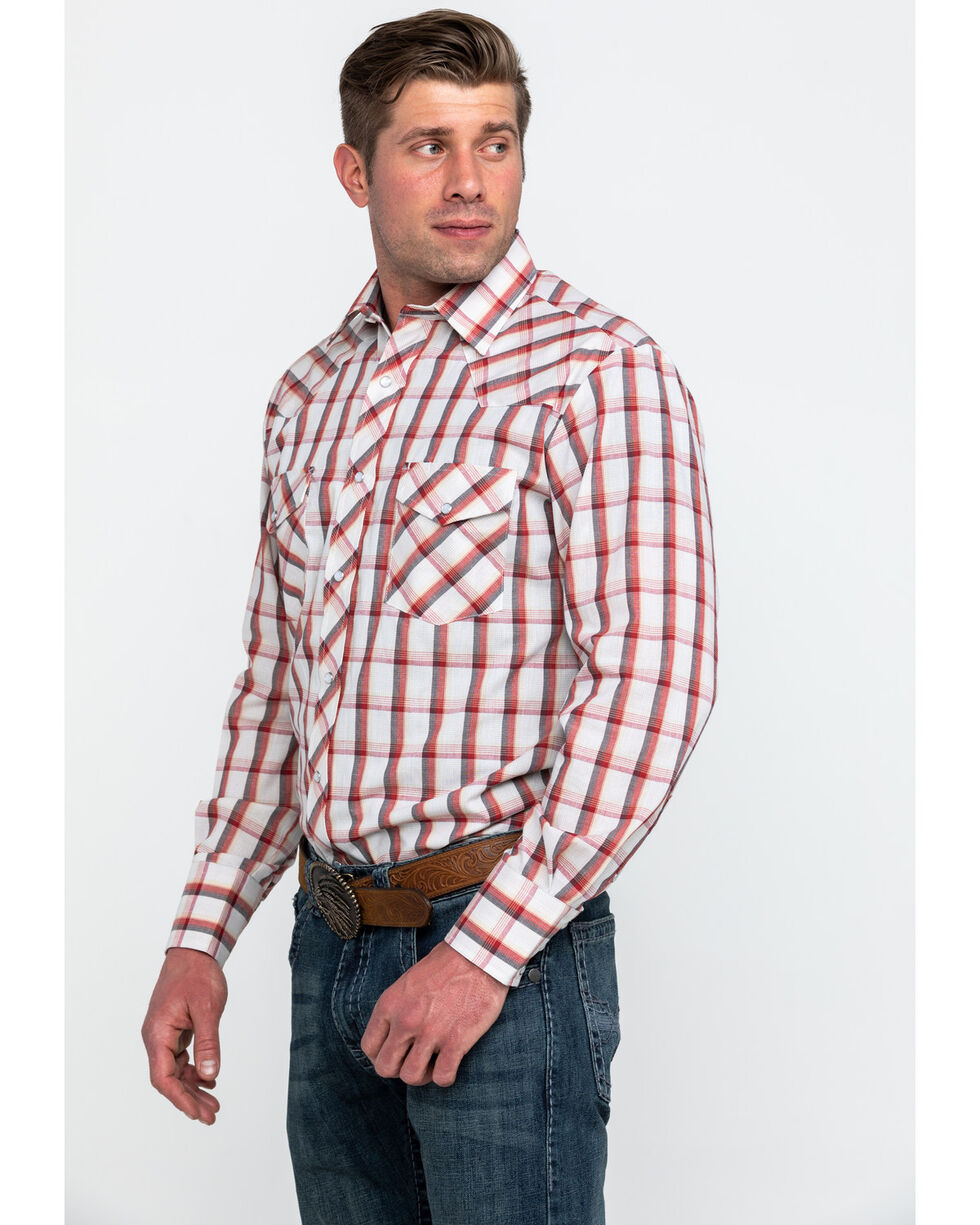 Roper Men's Large Classic Plaid Long Sleeve Western Shirt , Red, hi-res