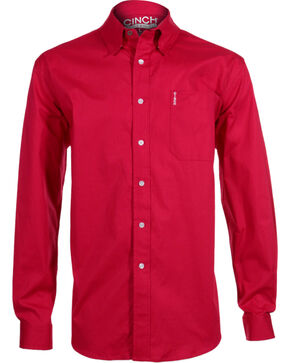 Cinch Men's Modern Fit Long Sleeve Western Shirt, Pink, hi-res