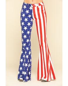 Ranch Dress'n Women's American Flag Super Flare Jeans , Red/white/blue, hi-res
