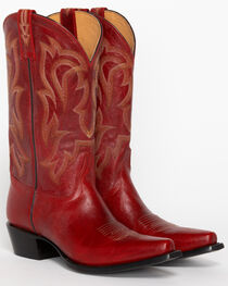 """Shyanne® 12"""" Red Leather Snip Toe Western Boots, Red, hi-res"""