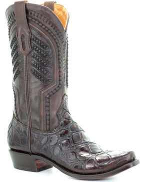 Corral Men's Chocolate Genuine Alligator Skin Boots - Square Toe , Chocolate, hi-res