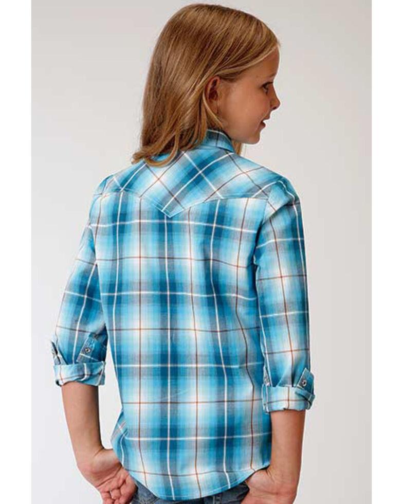 Amarillo Girls' Blue Plaid Snap Long Sleeve Western Shirt , Turquoise, hi-res