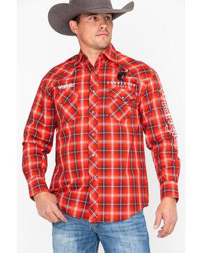 Wrangler Men's Red Plaid Pendleton Whisky Logo Long Sleeve Western Shirt , Red, hi-res