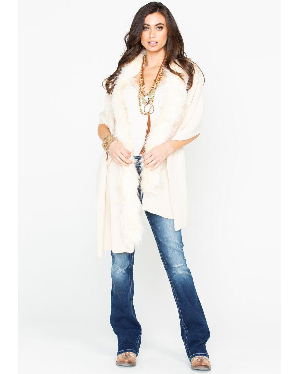 Shyanne Women's It's Fur Tonight Cream Faux Fur Wrap, Ivory, hi-res