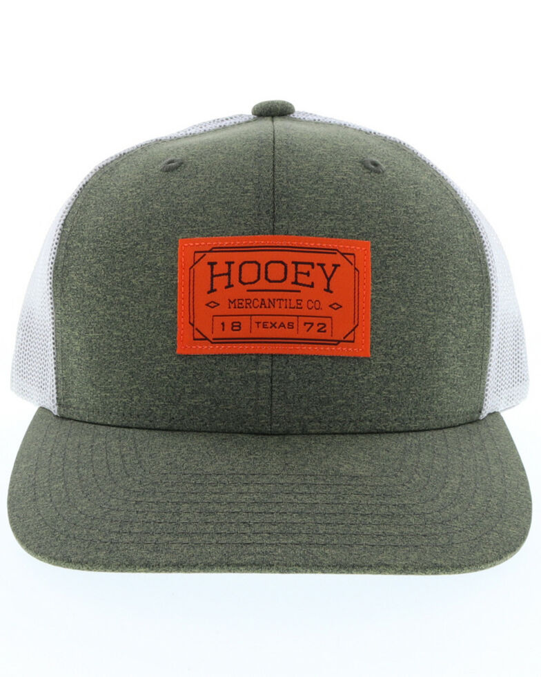 HOOey Men's Olive Doc Woven Square Patch Trucker Cap, Olive, hi-res