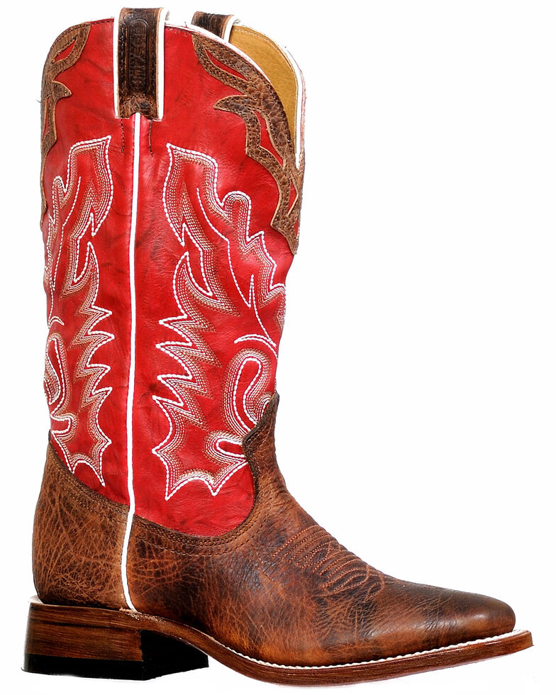 Boulet Women's Red Western Boots - Wide Square Toe, Red, hi-res
