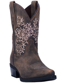 Dan Post Youth Girls' Marissa Western Boots - Snip Toe, Brown, hi-res
