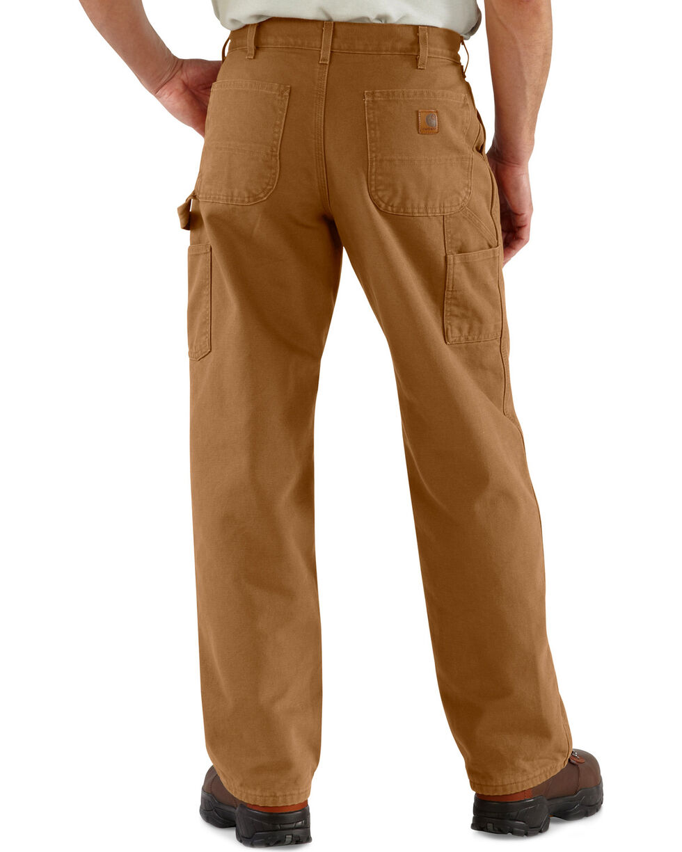 Carhartt Washed Duck Flannel Lined Dungaree Work Pants, Carhartt Brown, hi-res