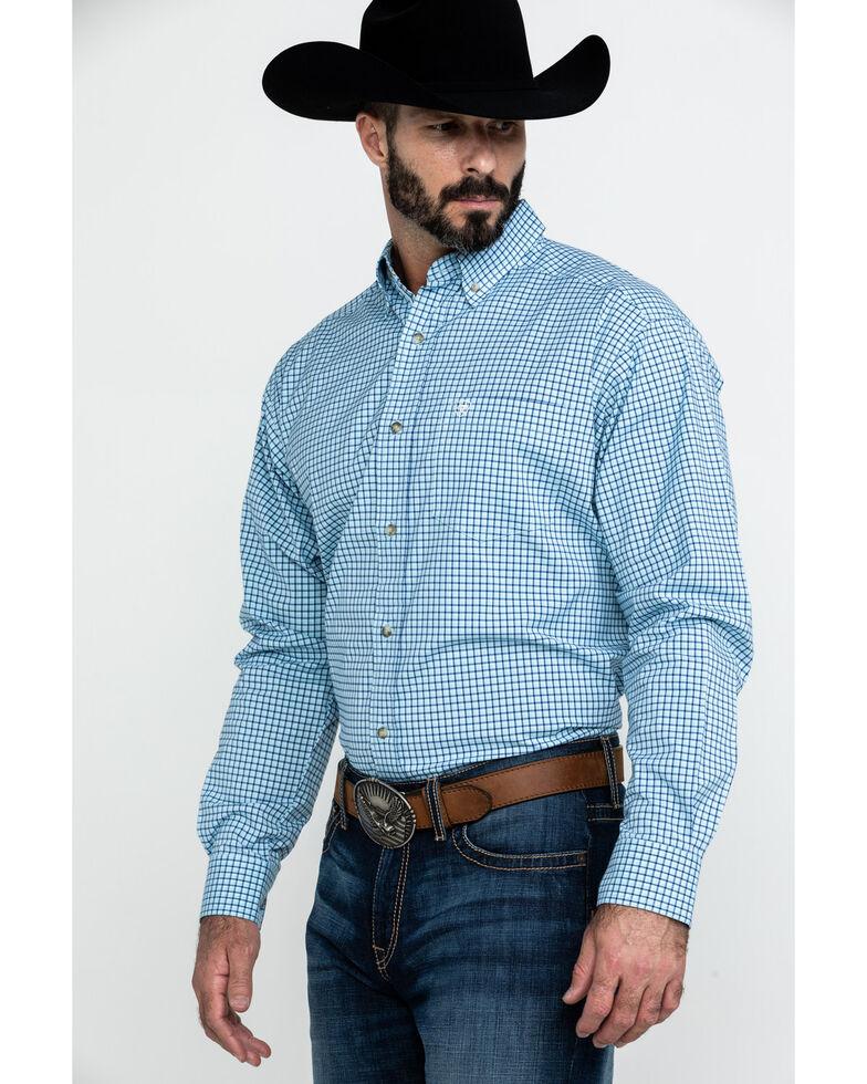 Ariat Men's Adamson Stretch Plaid Long Sleeve Western Shirt , Blue, hi-res