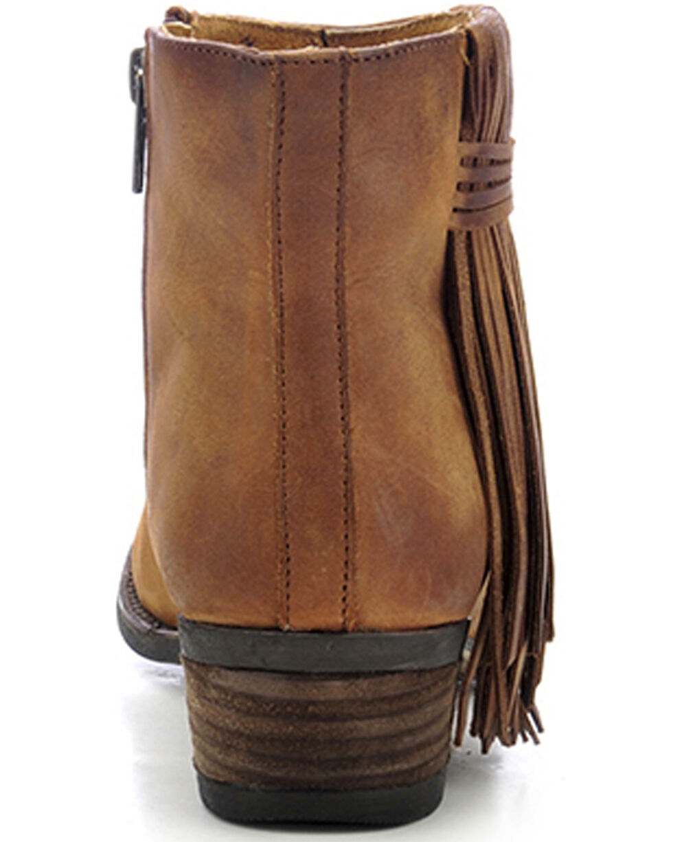 Circle G Women's Brown Fringe Side Short Boots - Round Toe, Tan, hi-res