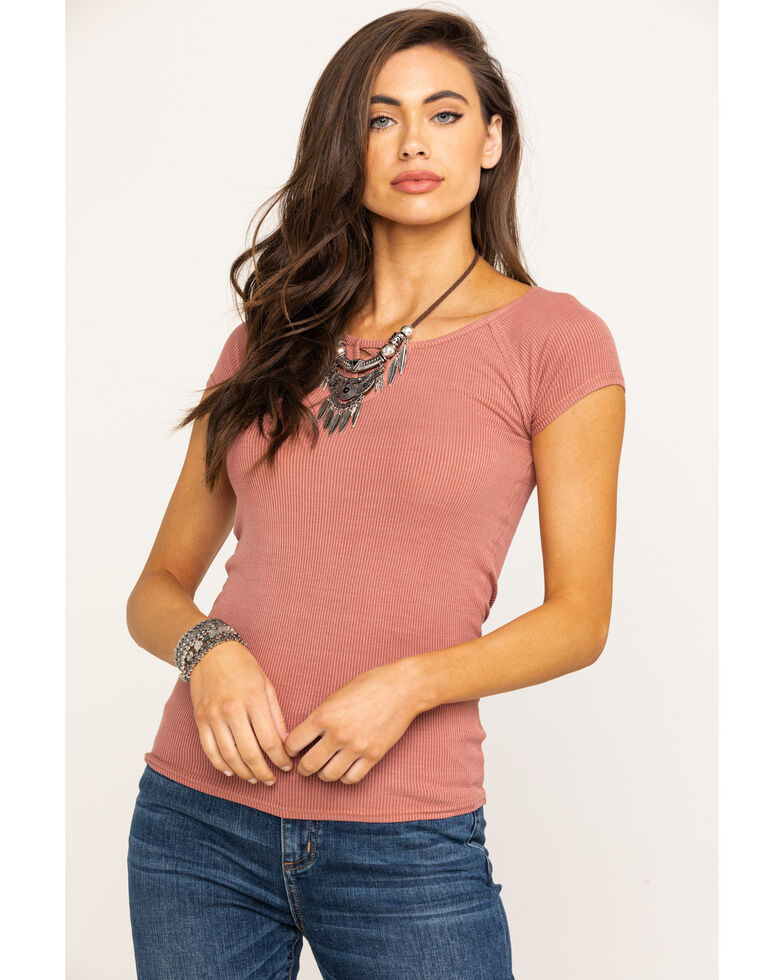 Shyanne Women's Lace Up Short Sleeve Tee, Rust Copper, hi-res
