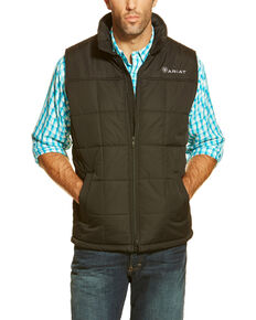 Ariat Men's Crius Poly Fill Zip Front Vest - Big , Black, hi-res