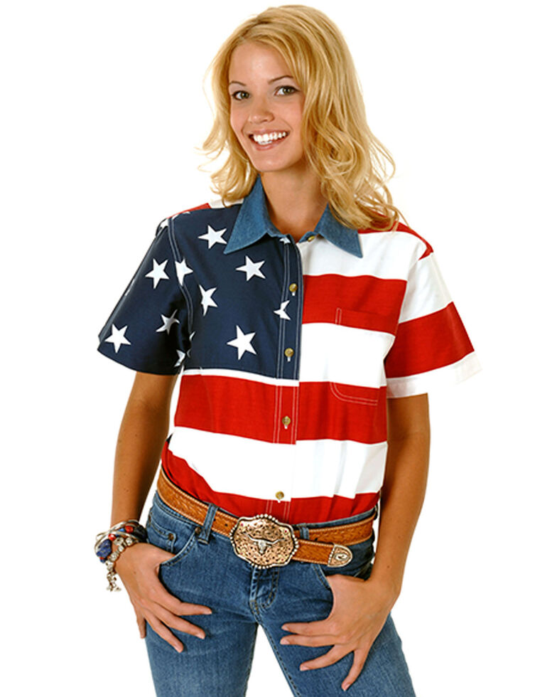 Roper Women's American Flag Short Sleeve Western Shirt, Patriotic, hi-res
