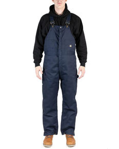 Berne Men's Navy 3X-4X Deluxe Twill Insulated Bib Overalls - Big, Navy, hi-res