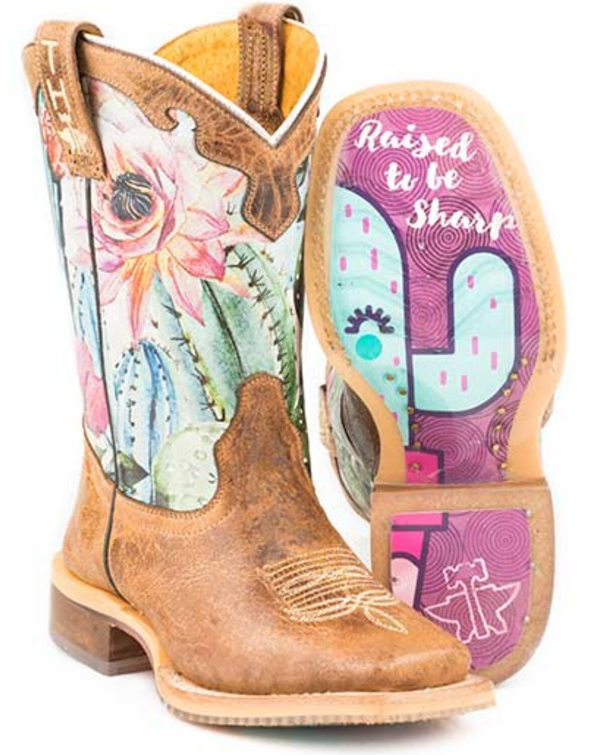 Tin Haul Girls Cactilicious Embroidered Western Boot Square Toe