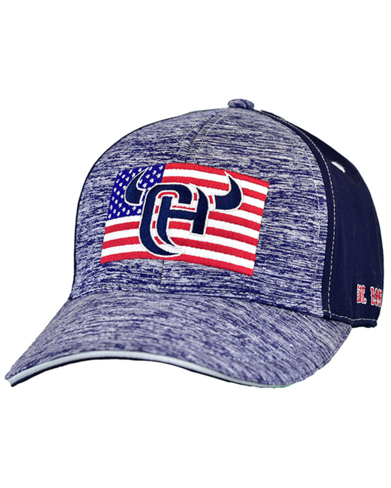 Cowboy Hardware Men's Heather Navy CH Flag Patch Embroidered Ball Cap , Navy, hi-res