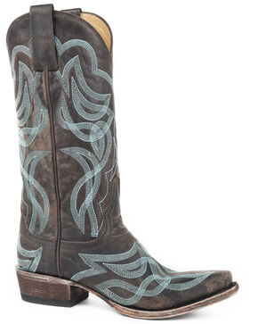 Stetson Women's Brown Reese Distressed Cowgirl Boots - Snip Toe , Brown, hi-res