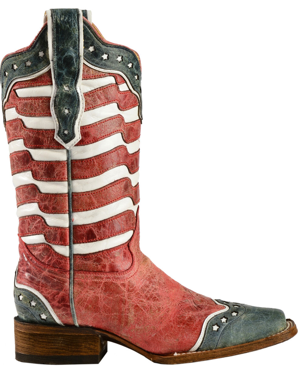 Corral Women's USA Square Toe Western Boots, Red, hi-res
