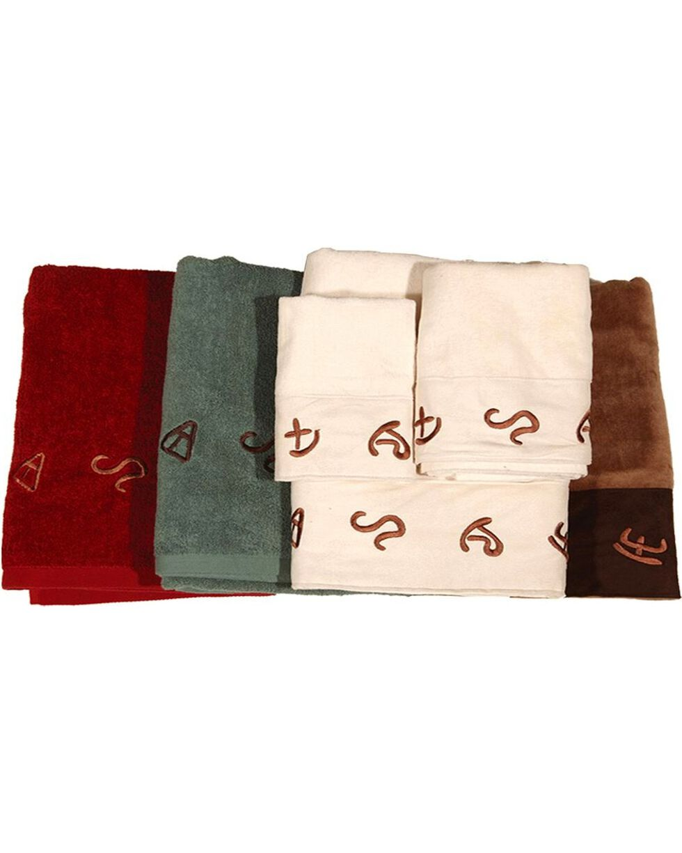 HiEnd Accents Three-Piece Embroidered Branding Symbols Bath Towel Set - Turquoise, Turquoise, hi-res