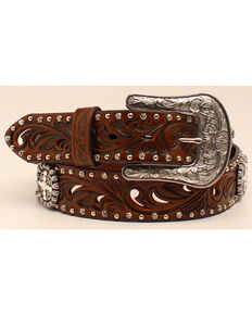 Ariat Women's Concho & Cutout Leather Belt, Brown, hi-res