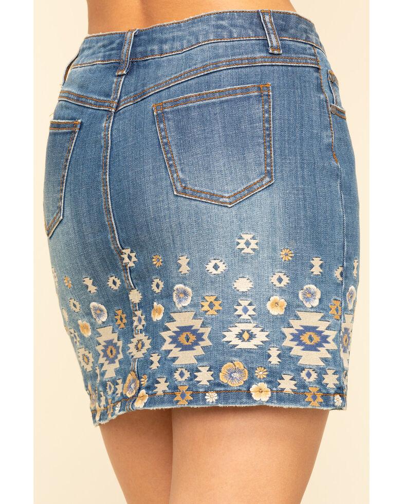 Stetson Women's Denim Aztec Embroidered Mini Skirt , Blue, hi-res