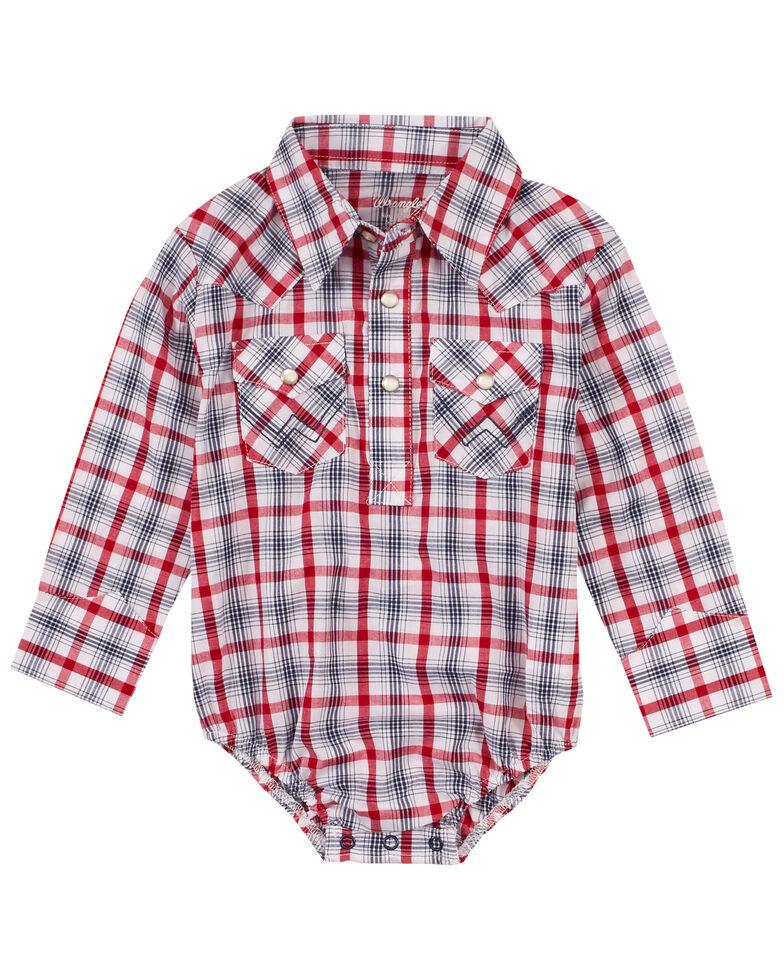 Wrangler Infant Boys' Multi Plaid Long Sleeve Snap Western Onesie , Multi, hi-res