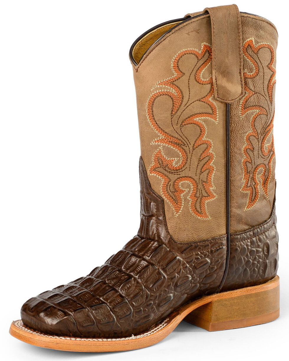 Anderson Bean Boys' Nile Croc Print Western Boots - Square Toe, Chocolate, hi-res