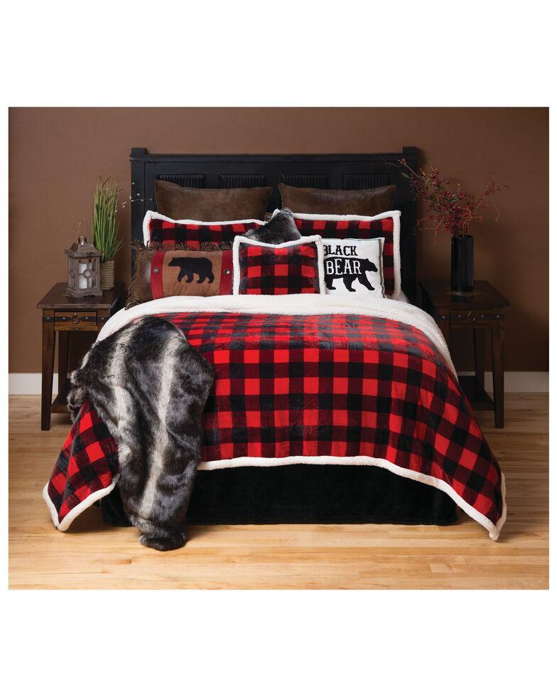 Carstens Home Red Lumberjack Buffalo Plaid 4-Piece Sherpa Fleece Bedding Set - King Size , Red, hi-res