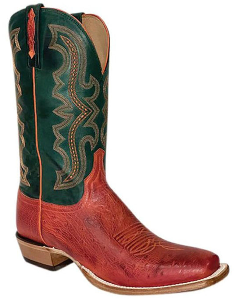 Lucchese Men's Pimiento Western Boots - Wide Square Toe, Red, hi-res