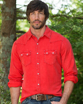 Ryan Michael Men's Cayenne Saw Tooth Silk Linen Shirt, Red, hi-res