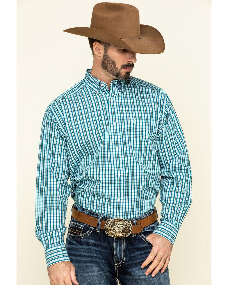 Ariat Men's Wrinkle Free Verdon Small Plaid Long Sleeve Western Shirt , Multi, hi-res