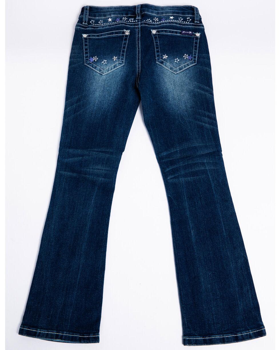 Seven7 Girls' Glendale Stars Embroidered Boot Jeans , Blue, hi-res