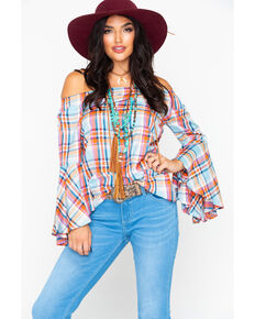 6e9aab9ed85 Panhandle Women s Plaid Off Shoulder Bell Long Sleeve Top