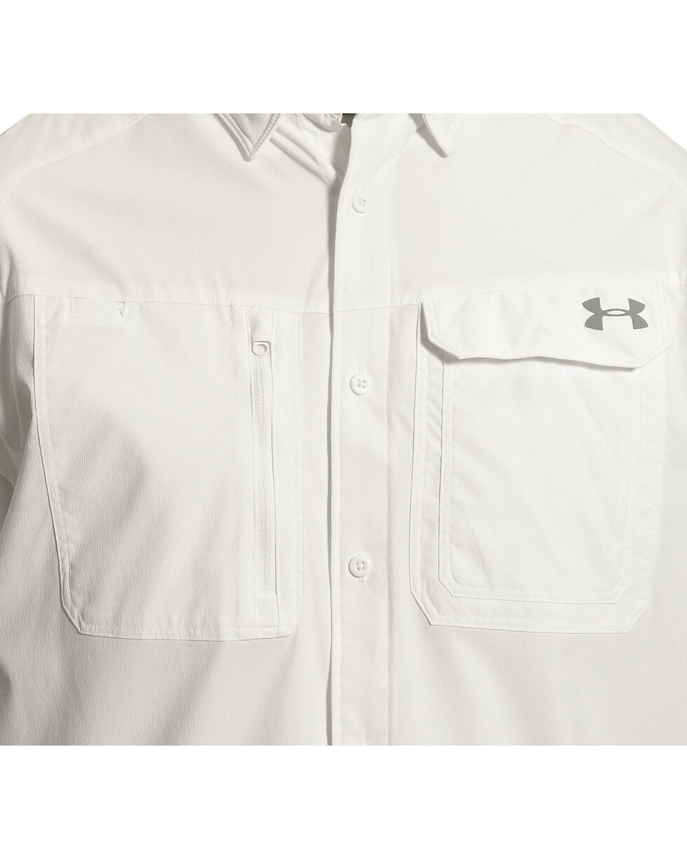 Under Armour Men's Fish Hunter Short Sleeve Shirt , White, hi-res