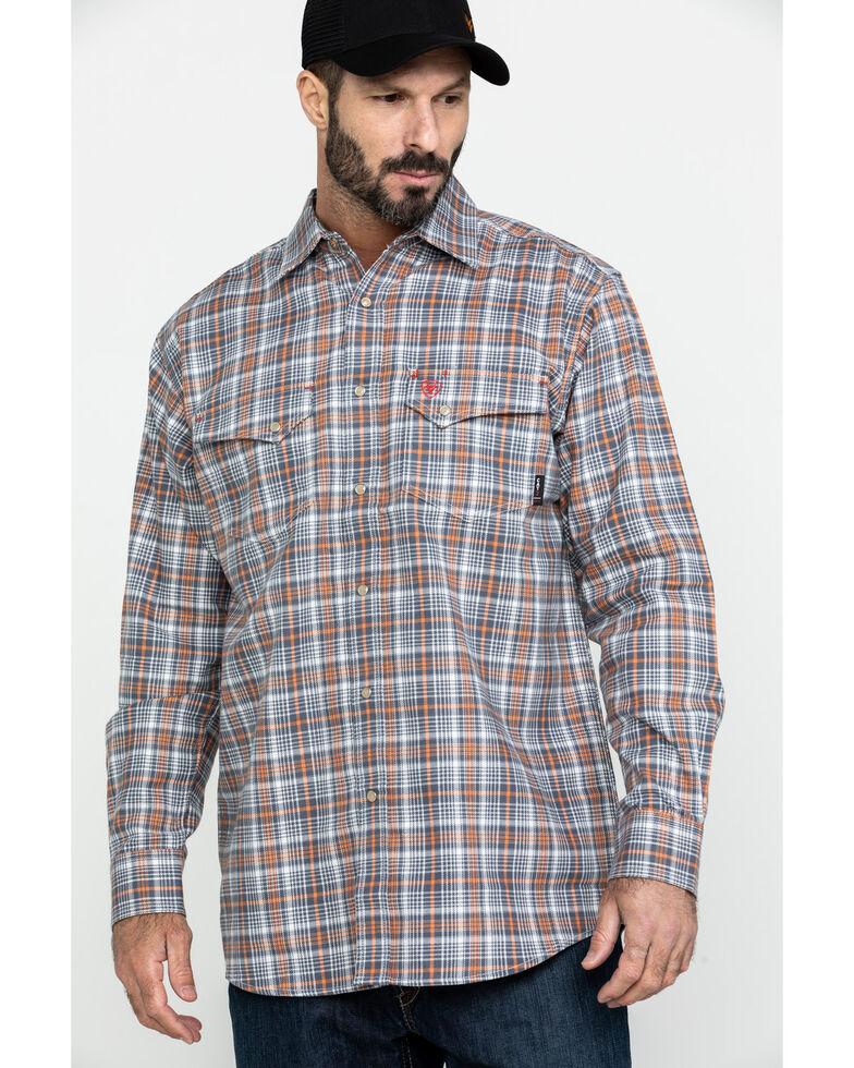 Ariat Men's Aimers FR Plaid Long Sleeve Work Shirt , White, hi-res