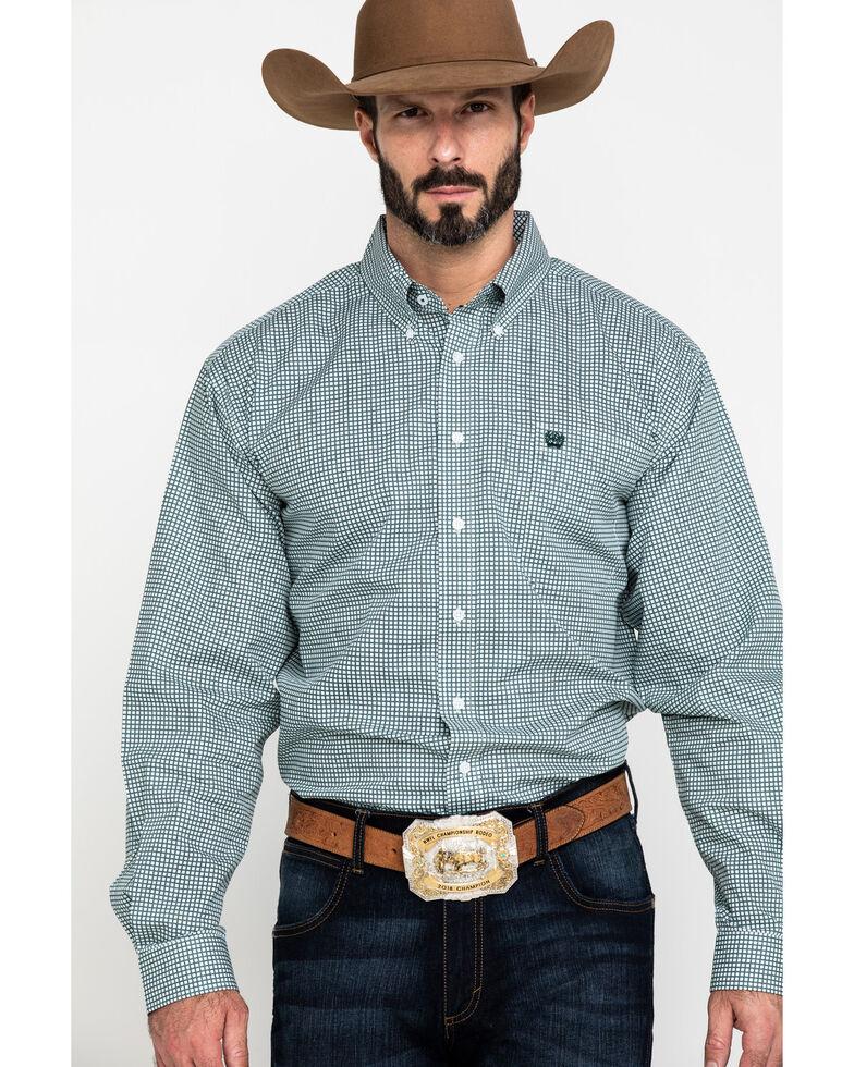 Cinch Men's Mint Small Plaid Long Sleeve Western Shirt , Green, hi-res