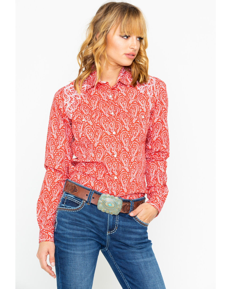 Panhandle Women's Concho Print Long Sleeve Western Shirt, Red, hi-res